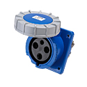 CEE Flanged Panel Sockets Sloped(Sloping Industrial Panel Sockets)(Flush Mounted Panel Sockets) 63A 2P+E IP67 6H HTN3331
